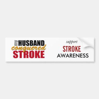 My Husband Conquered Stroke Bumper Sticker Car Bumper Sticker
