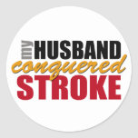 My Husband Conquered Stroke Stickers