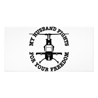 My Husband Fights For Your Freedom Helo Personalized Photo Card