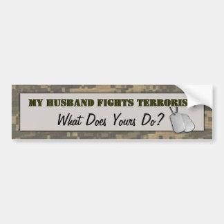 My Husband Fights Terrorism Camouflage Bumper Sticker