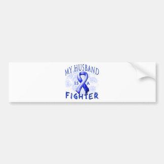 My Husband Is A Fighter Blue Car Bumper Sticker