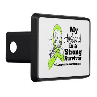 My Husband is a Strong Survivor of Lymphoma Trailer Hitch Cover