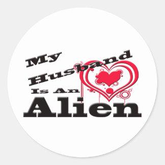My Husband Is An Alien Classic Round Sticker