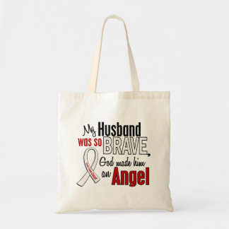 My Husband Is An Angel Lung Cancer Canvas Bags