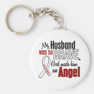 My Husband Is An Angel Lung Cancer Basic Round Button Keychain