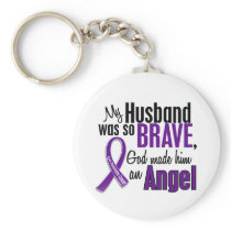 My Husband Is An Angel Pancreatic Cancer Keychain