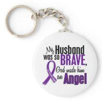 My Husband Is An Angel Pancreatic Cancer Keychain