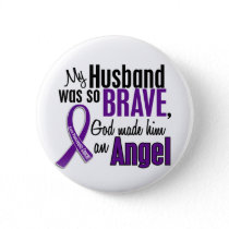 My Husband Is An Angel Pancreatic Cancer Pinback Button