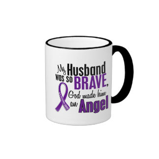 My Husband Is An Angel Pancreatic Cancer Ringer Mug