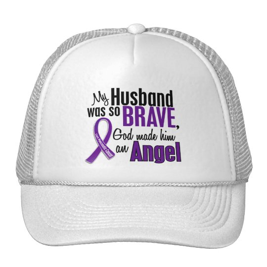 My Husband Is An Angel Pancreatic Cancer Trucker Hat