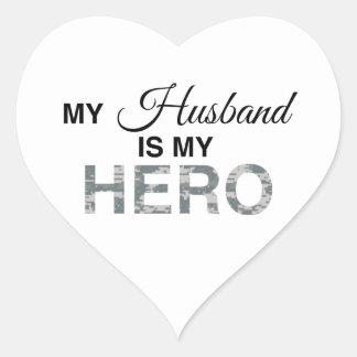 My Husband is my Hero Digital Camouflage Heart Sticker