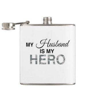 My Husband is my Hero Digital Camouflage Hip Flask