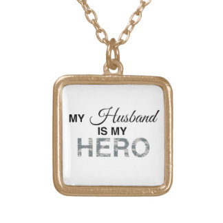 My Husband is my Hero Digital Camouflage Square Pendant Necklace