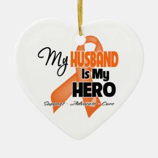 My Husband is My Hero - Leukemia Ceramic Ornament
