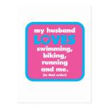My Husband Loves Triathlons Post Cards