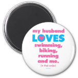My Husband Loves Triathlons (Text Only) 2 Inch Round Magnet