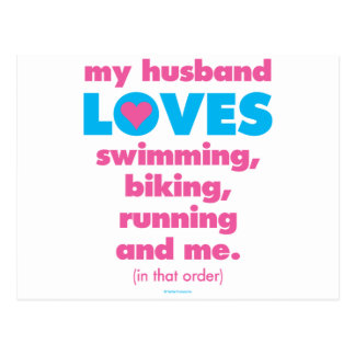 My Husband Loves Triathlons (Text Only) Postcard