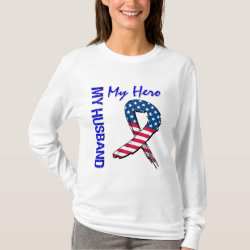 My Husband My Hero Patriotic Grunge Ribbon T-Shirt
