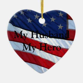 My Husband My Hero Christmas Double-Sided Heart Ceramic Christmas Ornament