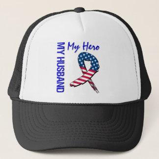 My Husband My Hero Patriotic Grunge Ribbon Trucker Hat
