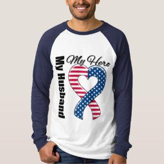 My Husband My Hero Patriotic USA Ribbon T-Shirt
