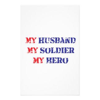 My husband, my soldier, my hero customized stationery