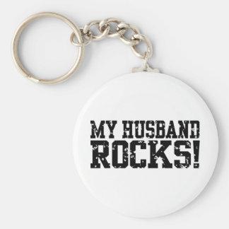 My Husband Rocks Basic Round Button Keychain