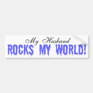 My Husband Rocks My World Bumper Sticker