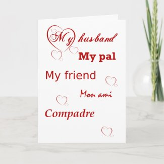 My Husband with Red Hearts Valentine card