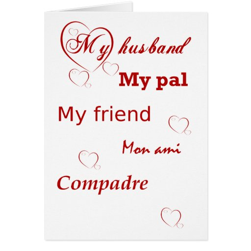 My Husband with Red Hearts Valentine Greeting Cards