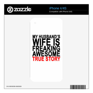 my husband's wife is freaking awesome tee shirt.pn iPhone 4 decal
