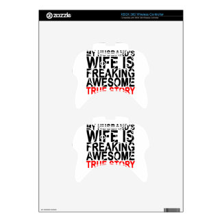 my husband's wife is freaking awesome tee shirt.pn xbox 360 controller skin