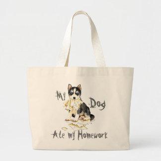 My Husky Ate My Homework Large Tote Bag