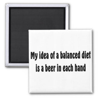 My idea of a balanced diet is a beer in each hand 2 inch square magnet