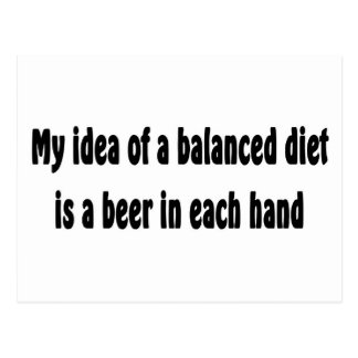 My idea of a balanced diet is a beer in each hand postcard