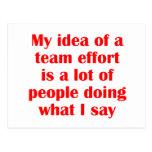 My Idea of a Team Effort... Post Card