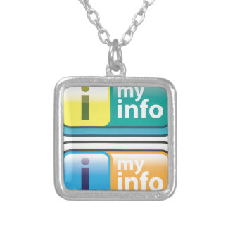 My Info Button Vector Silver Plated Necklace