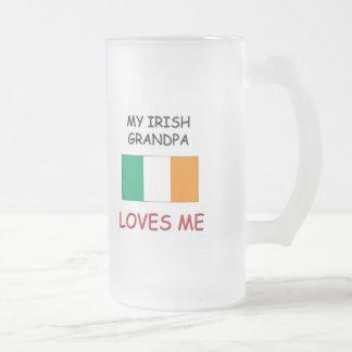 My Irish Grandpa Loves Me 16 Oz Frosted Glass Beer Mug