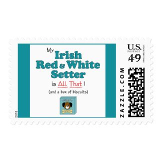 My Irish Red and White Setter is All That! Postage