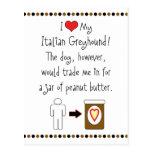 My Italian Greyhound Loves Peanut Butter Postcard