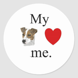 My jack Russsell loves me. Round Stickers