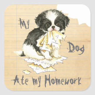 My Japanese Chin Ate My Homework Square Sticker