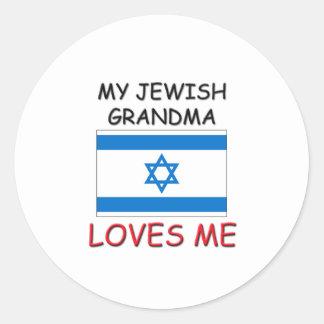My Jewish Grandma Loves Me Round Stickers