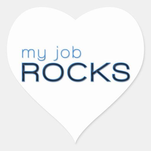 My Job Rocks Heart Stickers