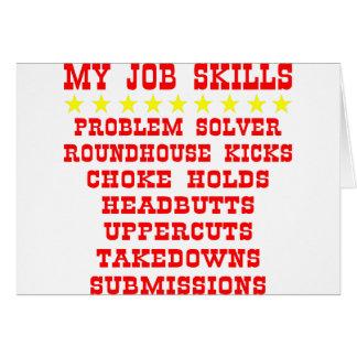 My Job Skills; Kicks, Chokes, Submissions Card