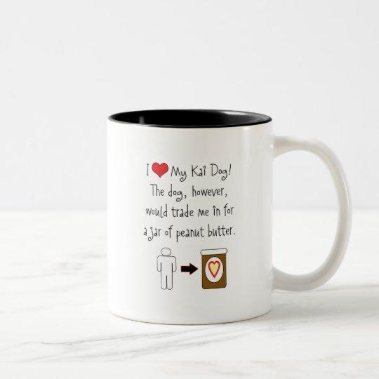 My Kai Dog Loves Peanut Butter Two-Tone Coffee Mug