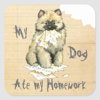 My Keeshond Ate My Homework Square Sticker