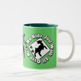 My Kid Just Walk All Over Me (Goat Kids) Two-Tone Coffee Mug