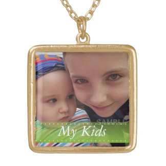 My Kids Green Ribbon Personalized Locket Necklace