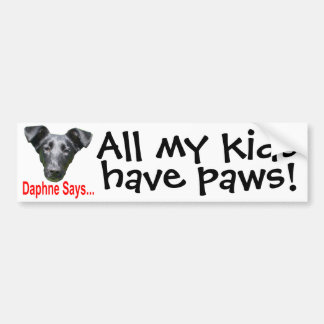 My kids have paws car bumper sticker